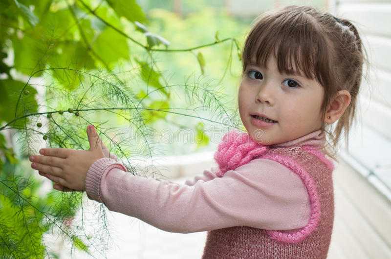Kid in the garden royalty free stock photography