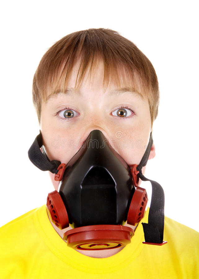 Kid in Gas Mask. Surprised Kid in Gas Mask Isolated on the White Background stock photo