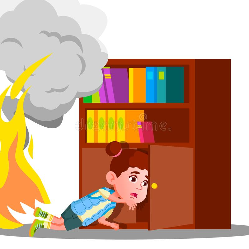 Kid Girl Climbs Into Cabinet Shelf Clothes To Hide From Smoke And Fire Vector. Isolated Illustration vector illustration