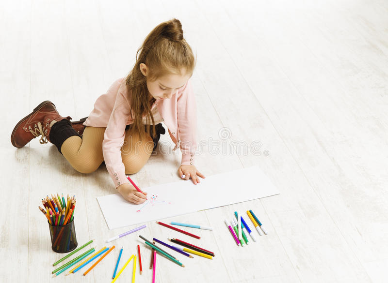Kid Girl Drawing Color Pencils, Artistic Child Education royalty free stock images