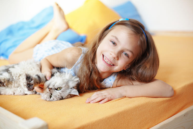 Download Kid girl with her pet stock image. Image of animal, lifestyle - 29225543