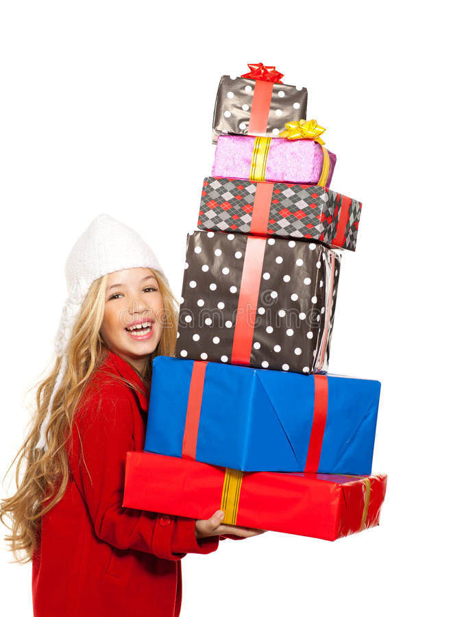 Download Kid Girl Holding Many Gifts Stacked On Her Hand Stock Image - Image: 23146017