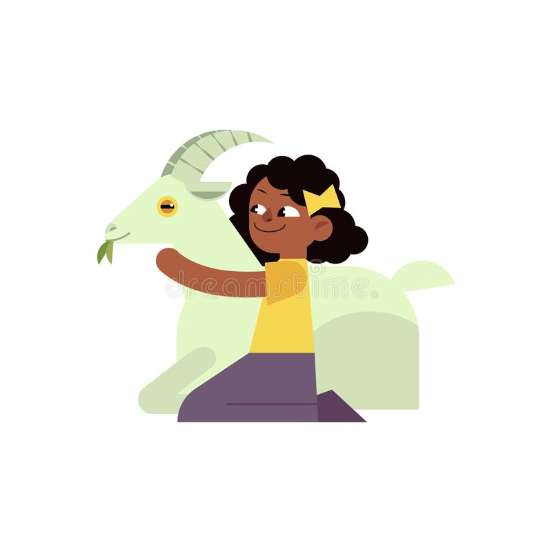 Kid girl hugging horned goat with love - flat cartoon character of african child embracing domestic farm animal. stock illustration