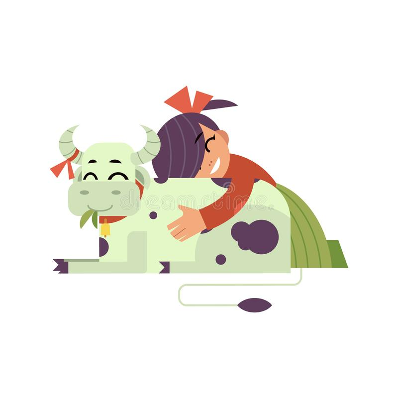 Kid girl hugging spotted cow with love - flat cartoon character of caucasian child embracing domestic farm animal. stock illustration