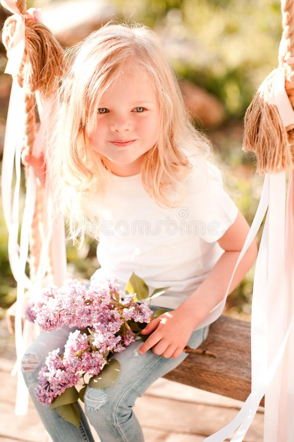Kid girl outdoors stock photo