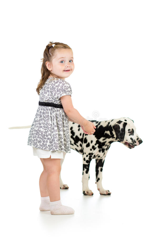 Kid girl playing with dalmatian dog royalty free stock photos