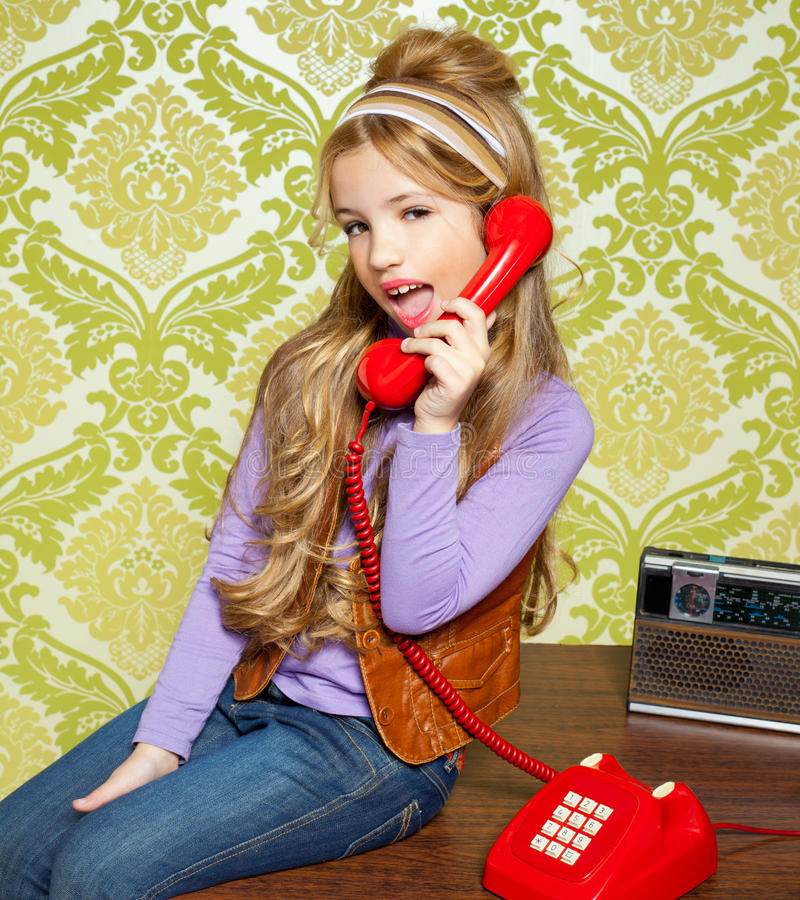 Download Kid Girl Retro Talking Busybody In Red Telephone Royalty Free Stock Image - Image: 23148826
