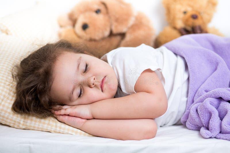 Kid girl sleeping stock image
