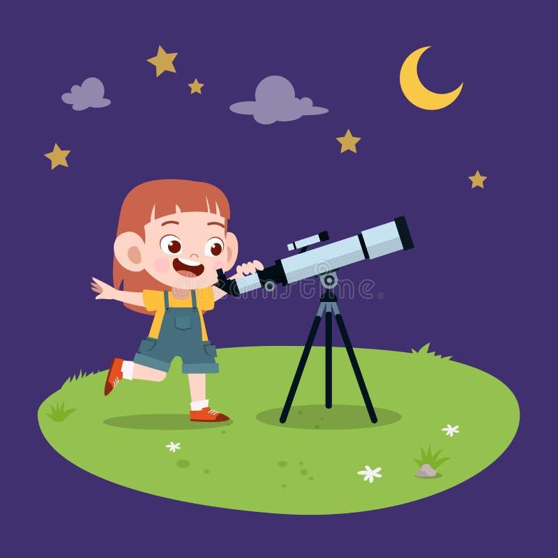 kid girl telescope illustration vector illustration stock illustration