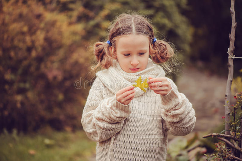 Kid girl walking in the garden in late october or november and playing with maple leaf. Children exploring nature royalty free stock photos