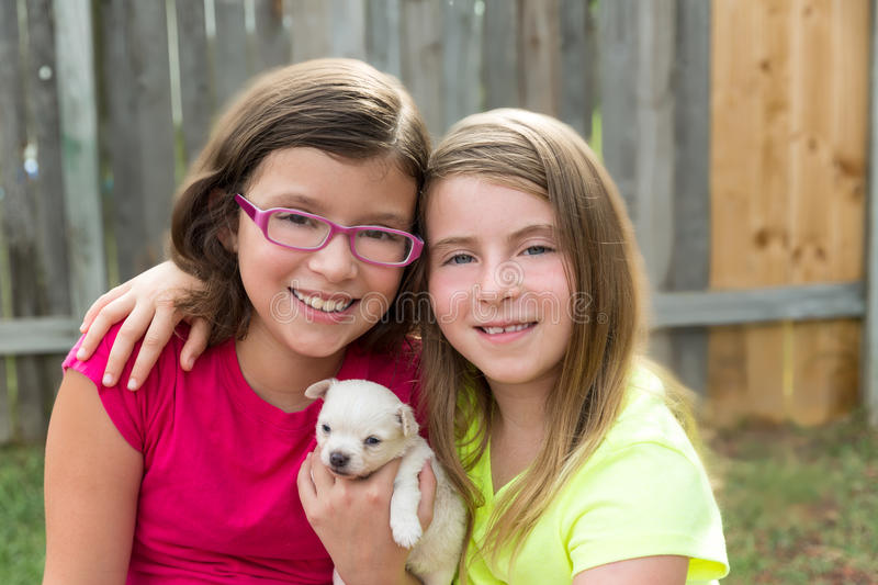 Kid girls playing with puppy pet chihuahua. With doggy outdoor royalty free stock photo