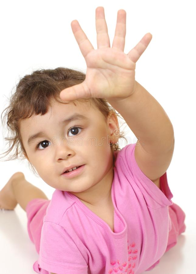 Kid giving high-five sign royalty free stock image