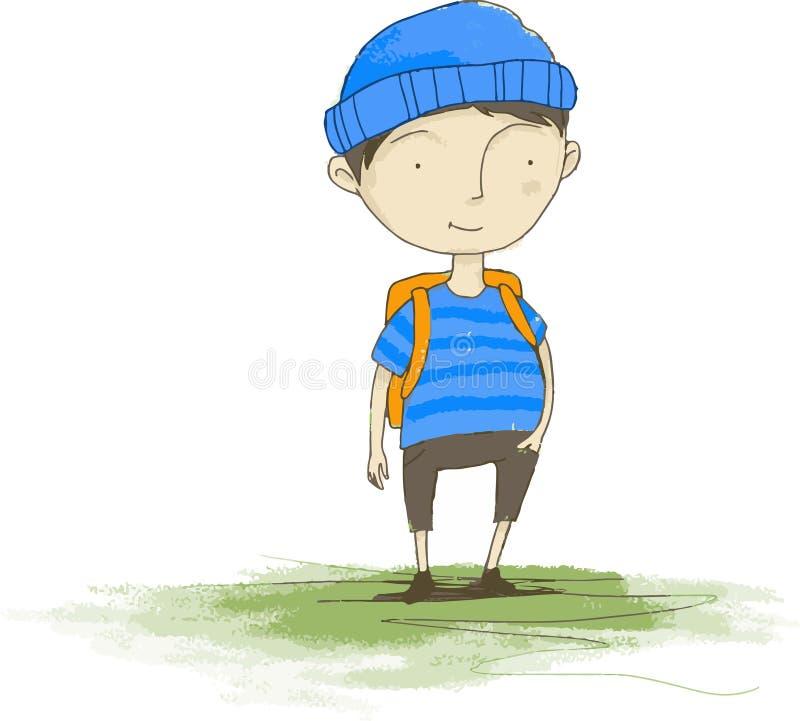 Kid go to school stock illustration