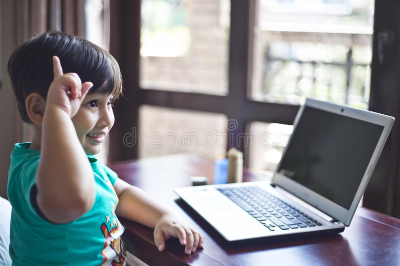 Kid got an idea stock image