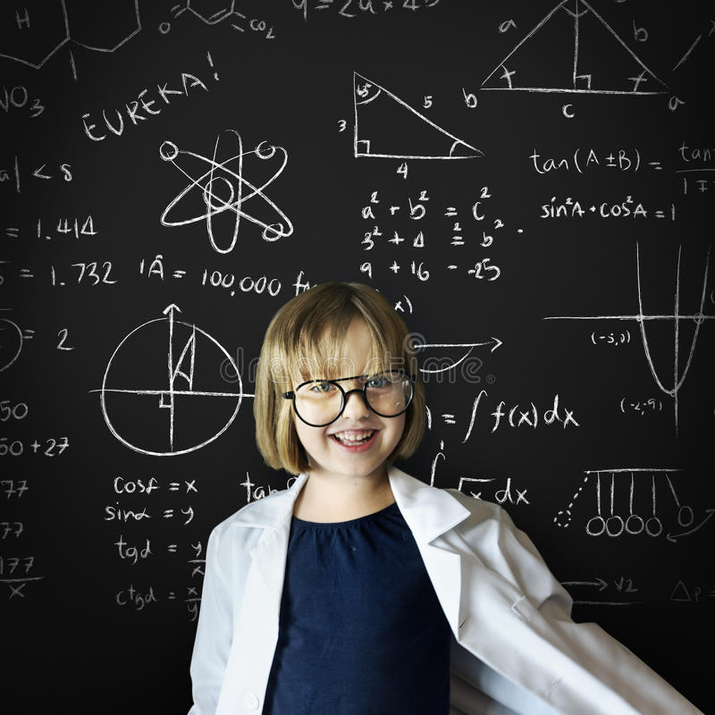 Kid Gown Smiling Childhood Math Concept stock images