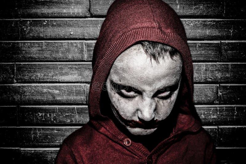 Kid with halloween make up stock image