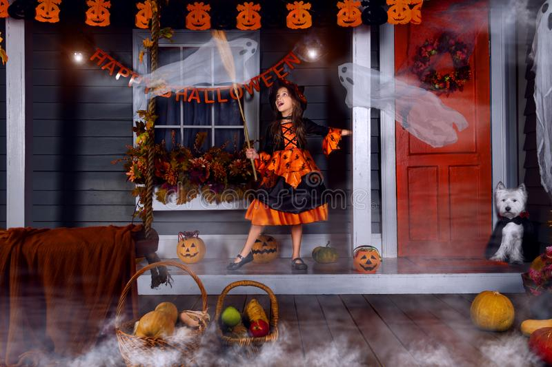 Kid in halloween witch costume ready for halloween. Funny girl kid child in halloween orange costume of witch and black hat playing outdoor with witch broom and royalty free stock images