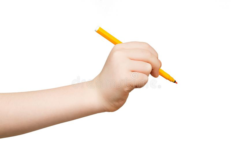 Kid hand holding felt-tip pen isolated on white royalty free stock images
