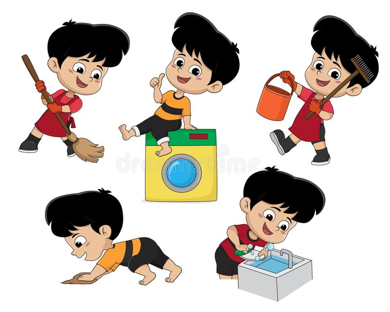 Kid help my parents do housework on weekends royalty free illustration