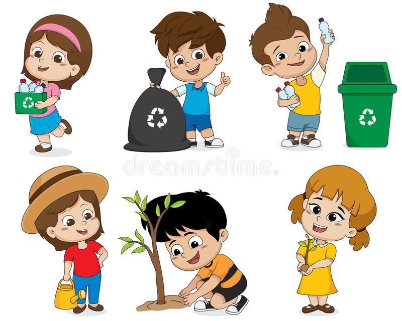 Kid help save the world by collecting plastic bottles recycled, stock illustration