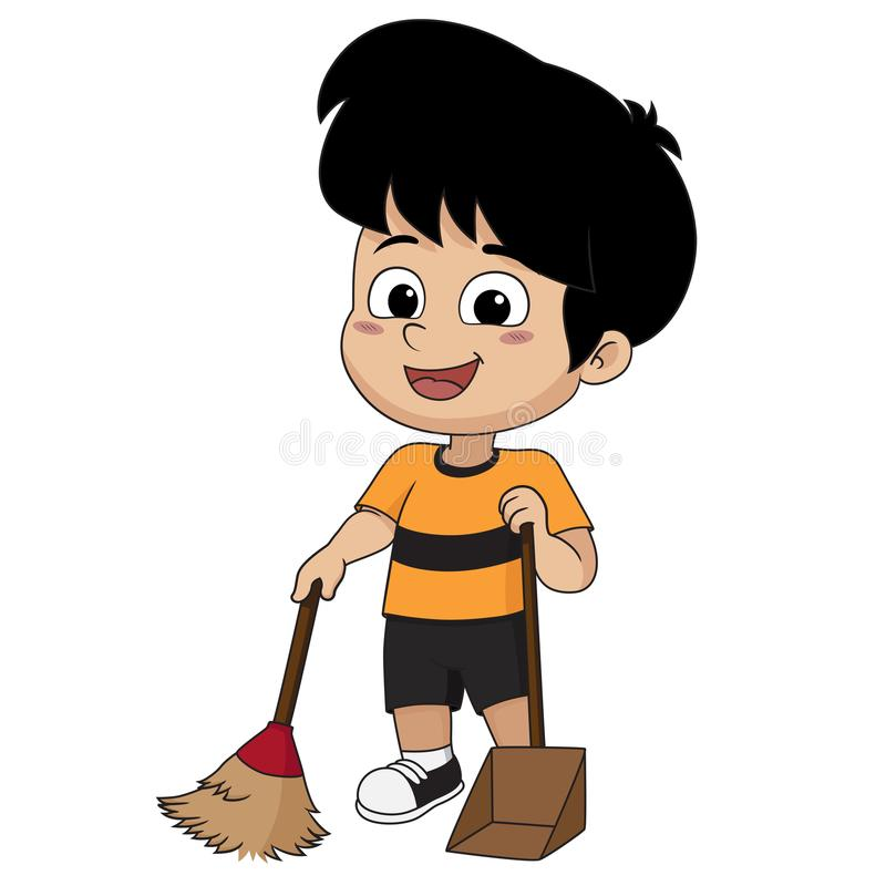 Free Kid Help Their Parents To Sweep Home. Stock Photos - 101873283