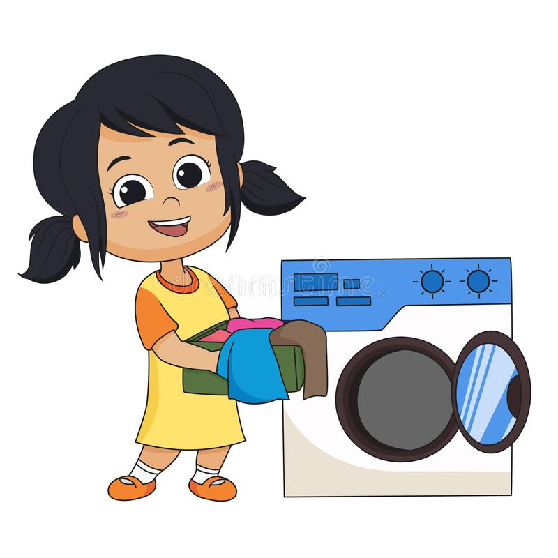 Kid help their parents wash cloths with washing machine. Vector and illustration vector illustration