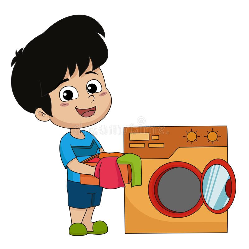Kid help their parents wash cloths with washing machine. Vector and illustration stock illustration