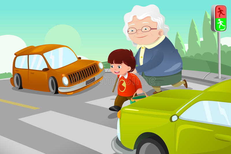 Download Kid Helping Senior Lady Crossing The Street Stock Vector - Image: 36677452