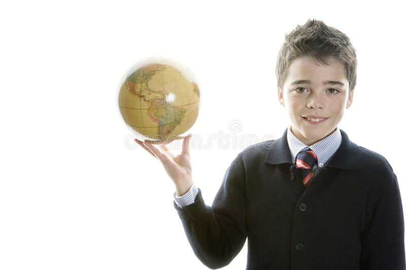 Download Kid Holding Globe In His Hand. Stock Photo - Image of confident, conceptual: 28941632