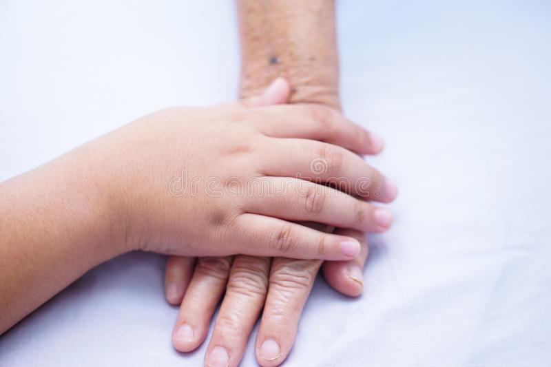 Kid holding hand Asian senior or elderly old lady patient with love, care, encourage and empathy. stock photo