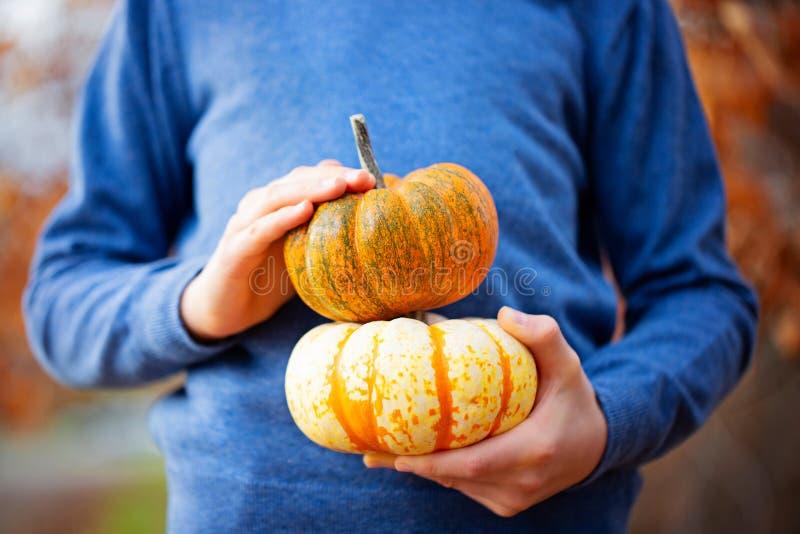 Kid holding pumpkins stock photos