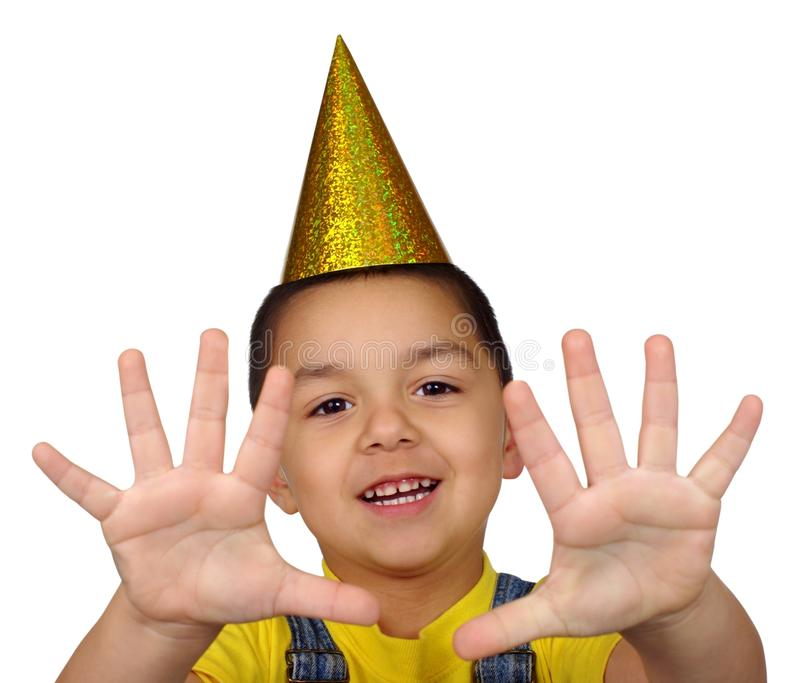 Kid Holding Up Ten Fingers Royalty Free Stock Photos