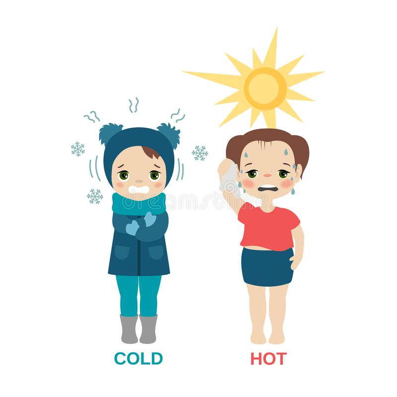 Hot and cold girl. Kid in hot and cold weather. Cartoon style illustration isolated on white background royalty free illustration