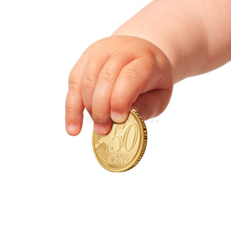 Kid invest money. Saving money for future royalty free stock photos