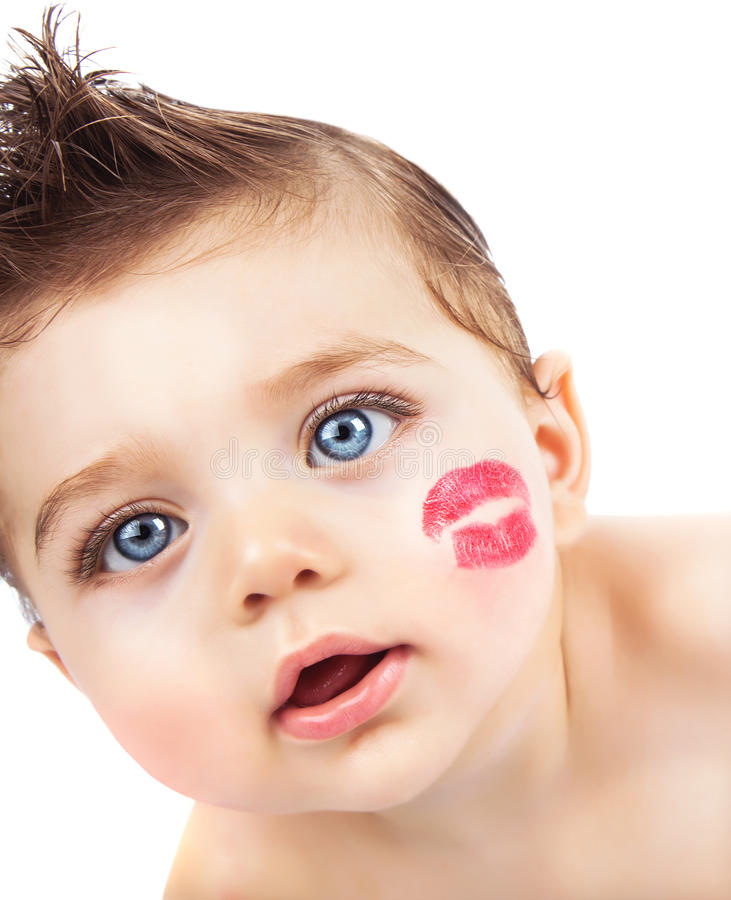 Download Kid with kiss stock photo. Image of love, kids, kiss - 28728204