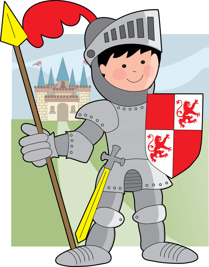 Kid Knight. Young boy knight holding shield and spear stock illustration
