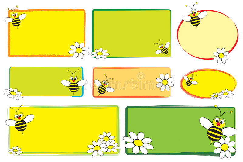 Kid labels - Bee and daisies vector illustration