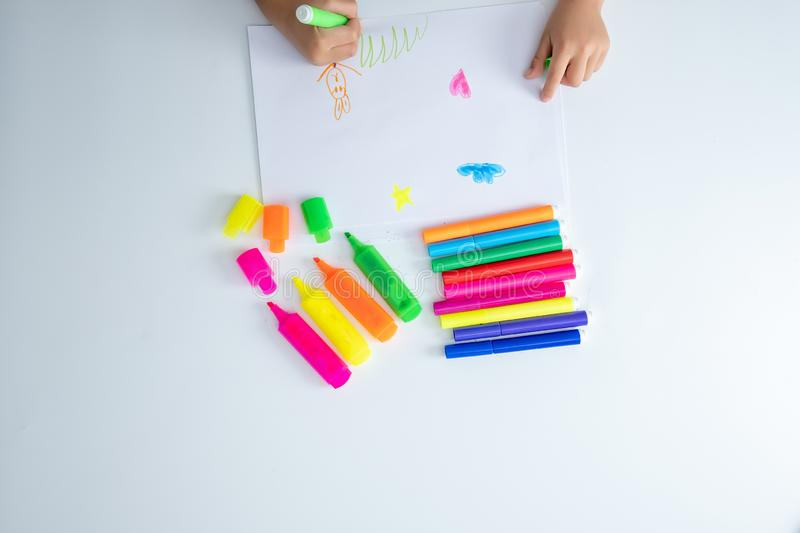 Kid is learning Back to School Concept with Stationery Supplies Design Copy Space stock images