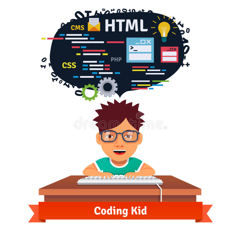 Kid is learning web design and coding stock illustration