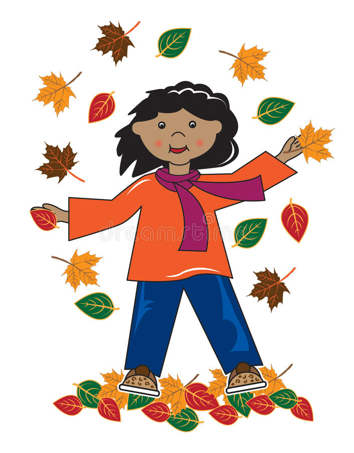 Download Kid In Leaves African American Girl Stock Illustration - Image: 26826319