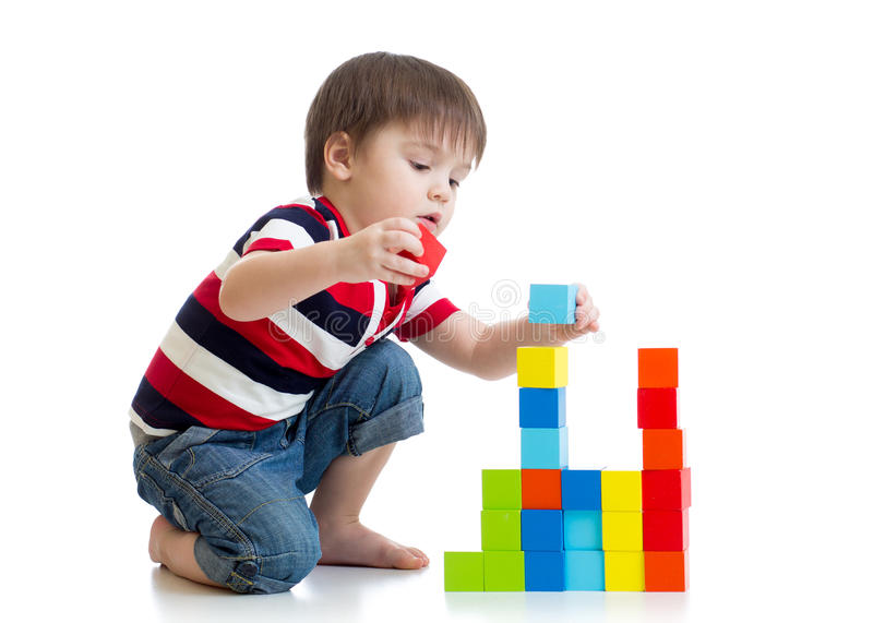 Kid little boy playing on floor royalty free stock image