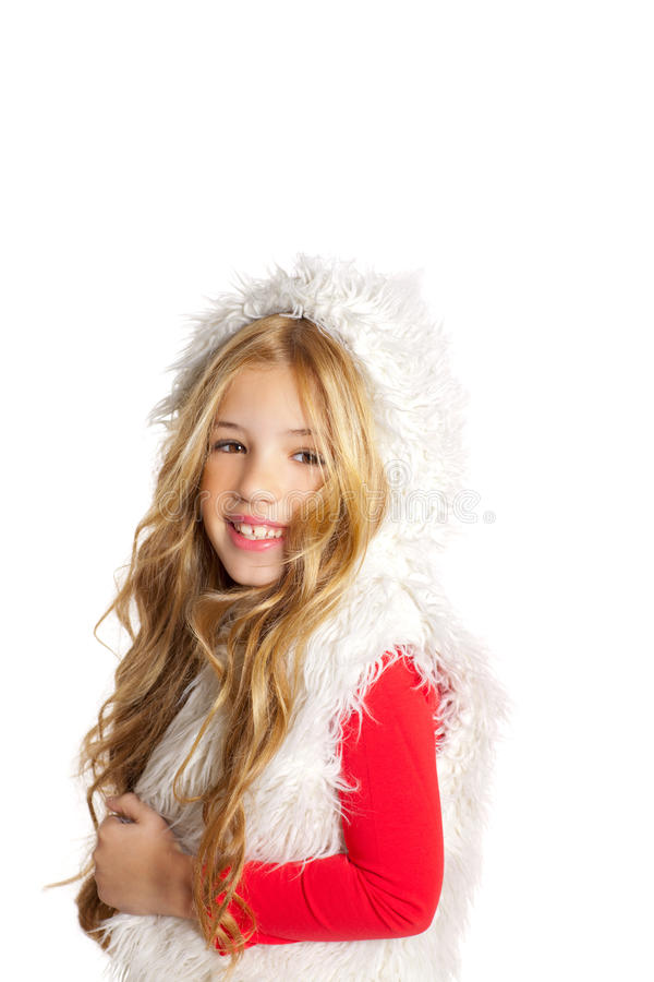 Download Kid Little Girl With Christmas Winter White Fur Royalty Free Stock Photo - Image: 23145675