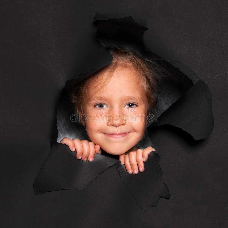 Download Kid looking out of a hole stock photo. Image of rough - 29219230