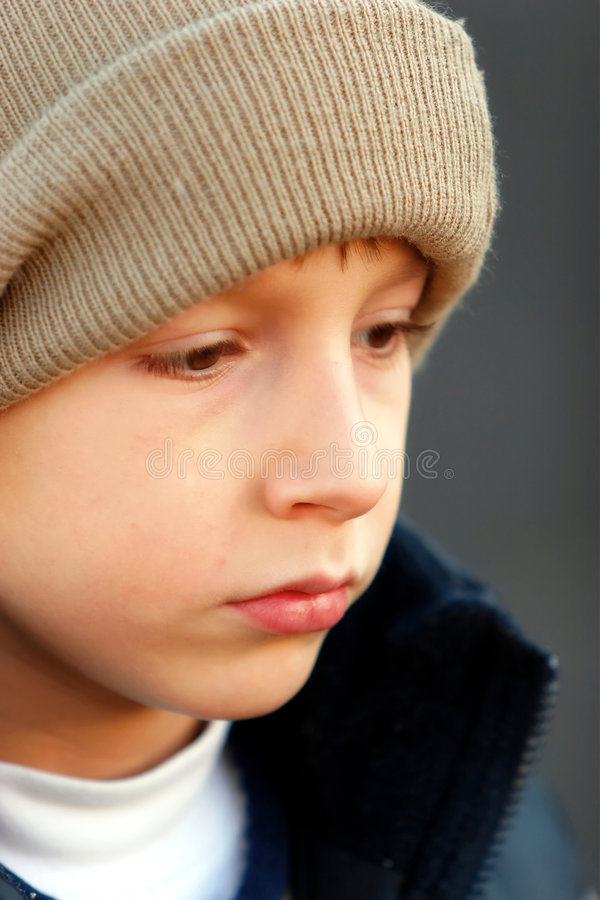 Kid looking serious stock photo