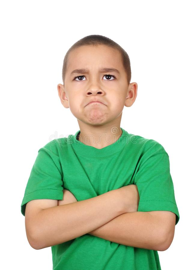 Kid Looking Up Angry Royalty Free Stock Photo