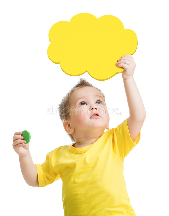 Kid looking up with blank yellow cloud in hand