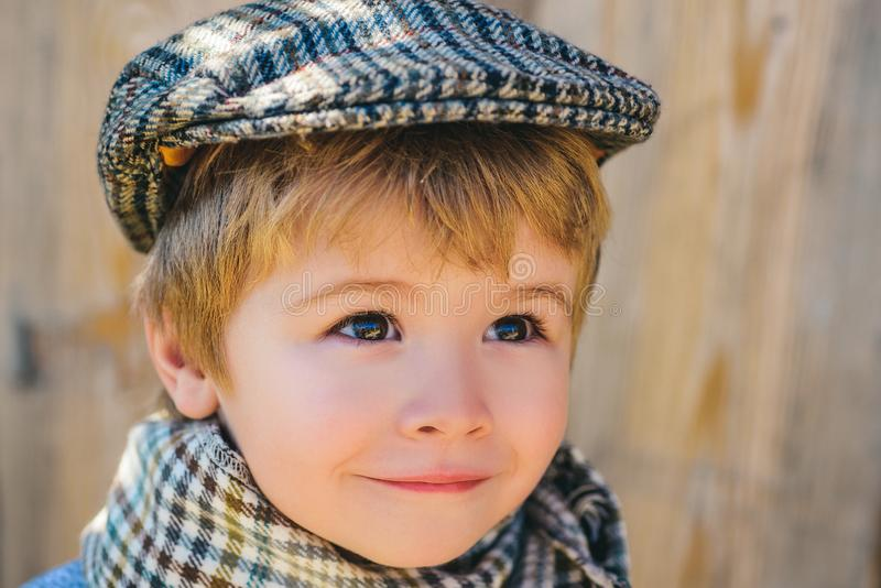 Kid is looking up. Pretty boy. Child face close. Handsome child boy. stock images