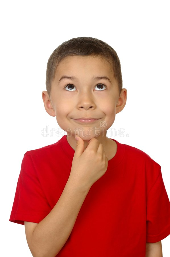 Kid looking up thinking royalty free stock photography