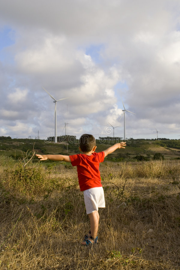 Kid loving ecology stock photography