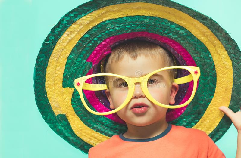 Kid with Mexican hat. royalty free stock photography